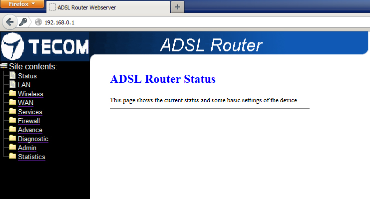 panel web router